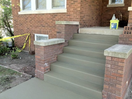 Berwyn Illinois New concrete stairs and masonry brick repair