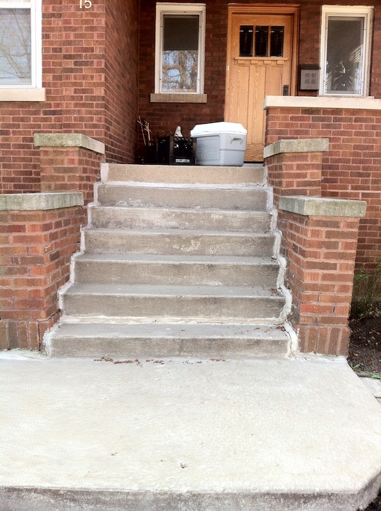 Berwyn Illinois New Concrete stairs and Masonry Brick repair.