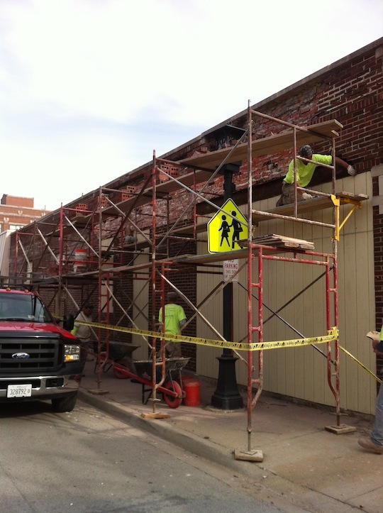Oak park IL.  masonry wall section repair, stone coping and tuck pointing.