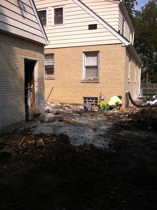 Concrete porch custom fire pit hinsdale illinois